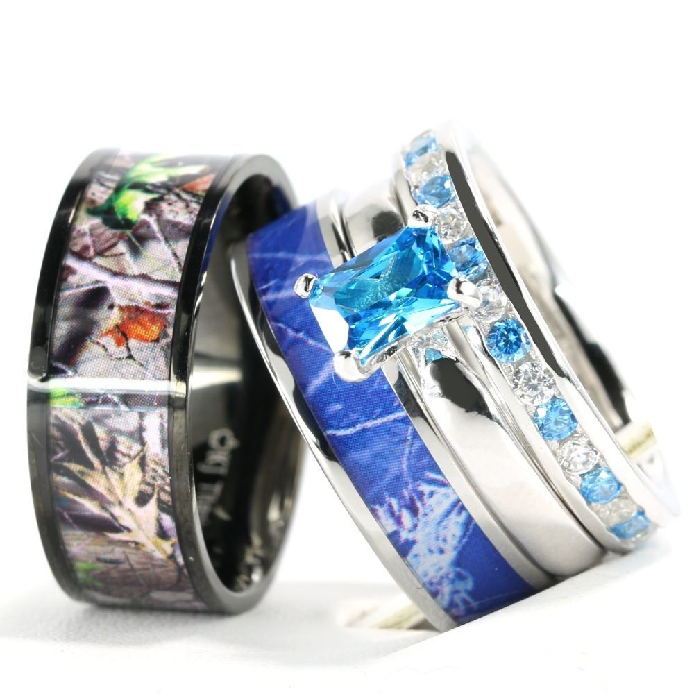 Elegant pcs His Hers Camo Blue Radiant Stainless Steel Sterling Silver Wedding Ring Set UniqueJewelry