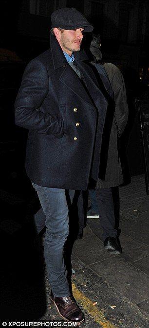 Buy Men's Black David Beckham Pea Coat