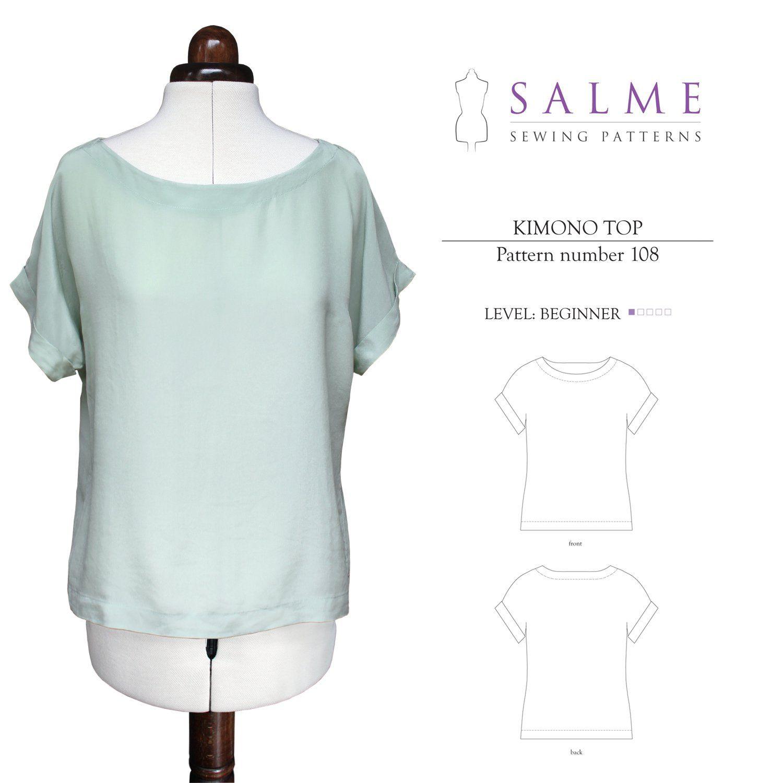 Salme Sewing Patterns 108 Kimono Top Downloadable Pattern | Pinterest