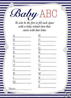 Amazing Nautical Baby ABC Baby Shower Game Free Printable