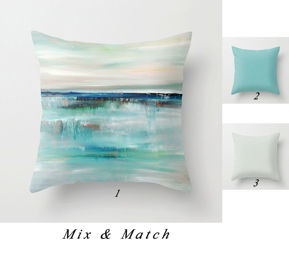 Gray Blue Throw Pillow Covers Abstract Art Pillow Cushion Etsy In 2020 Turquoise Pillows Ocean Pillows Pillow Art