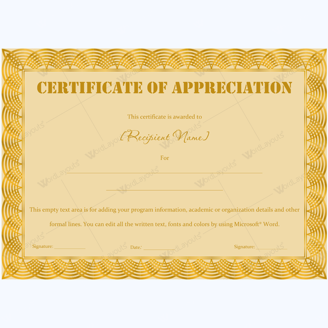 Certificate Of Appreciation Wording Examples