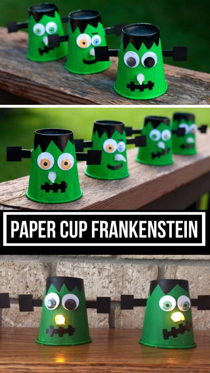 Paper cup Frankenstein with glowing nose - Halloween craft #halloweendekobasteln