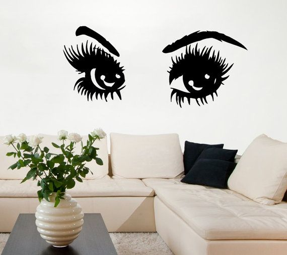 Wall Art Stickers Eyes : Girl wall decals sexy eyes with long lashes beauty salon