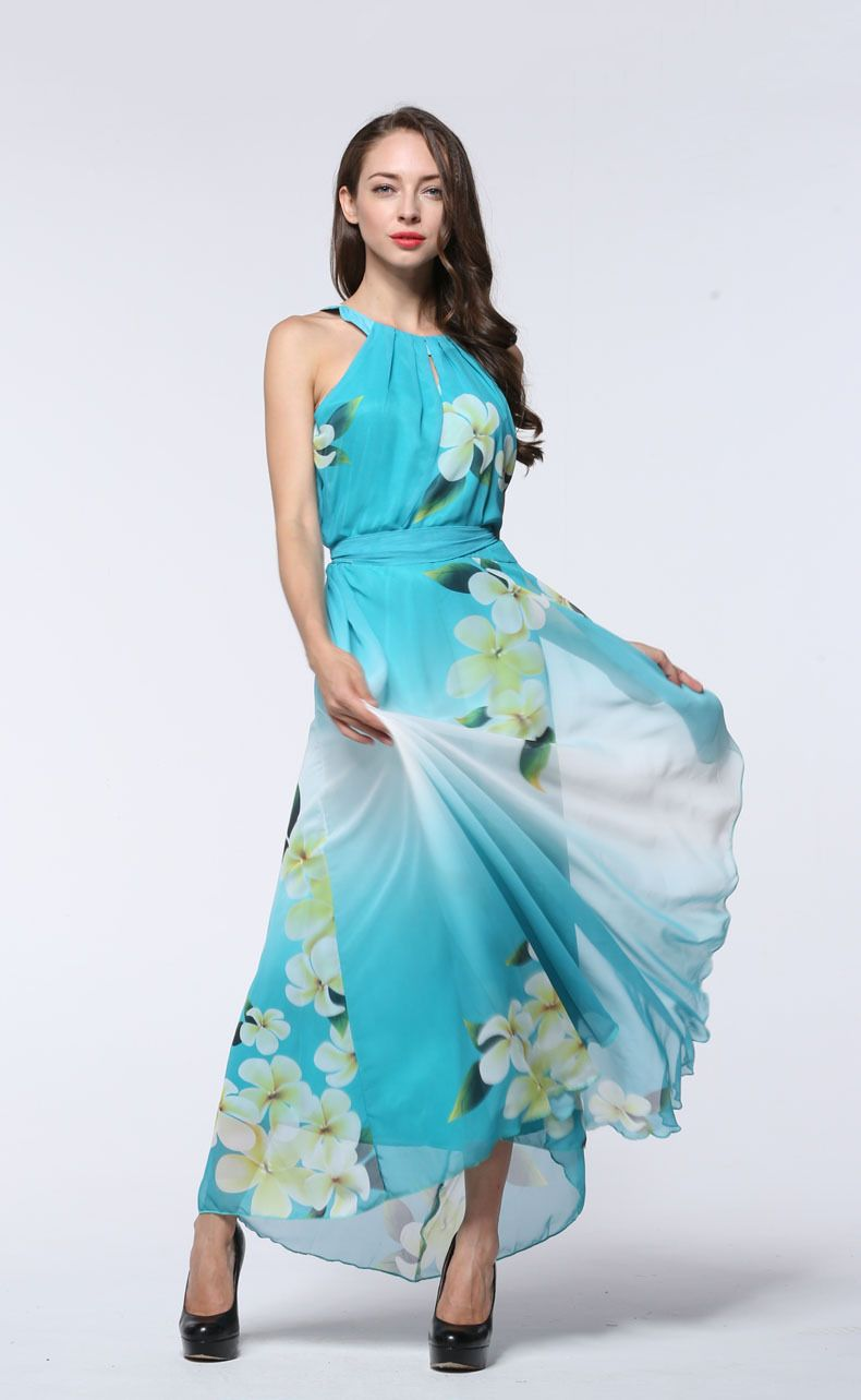 d776f587ba2 Wholesale Elegant Women Dresses Sleeveless Plus Size Chiffon Maxi Dress  Gradient Color Light Blue Floral Dress