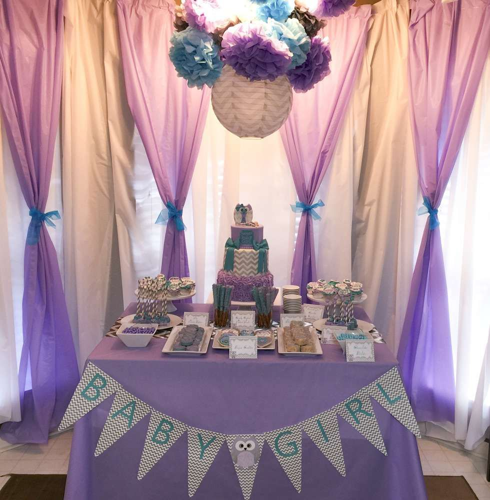 Purple Owl Baby Shower Party See More Party Planning Ideas At