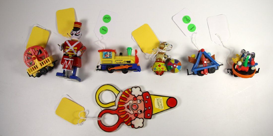 Toys, Plastic & Tin Circus Dog, Drummer, Trains