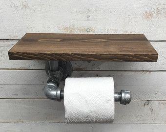 Rustic Bathroom Organization. Barn Wood Toilet Paper Holder, Industrial Bathroom  Decor, Steampunk Decor, Reclaimed Wood, Pipe Holder