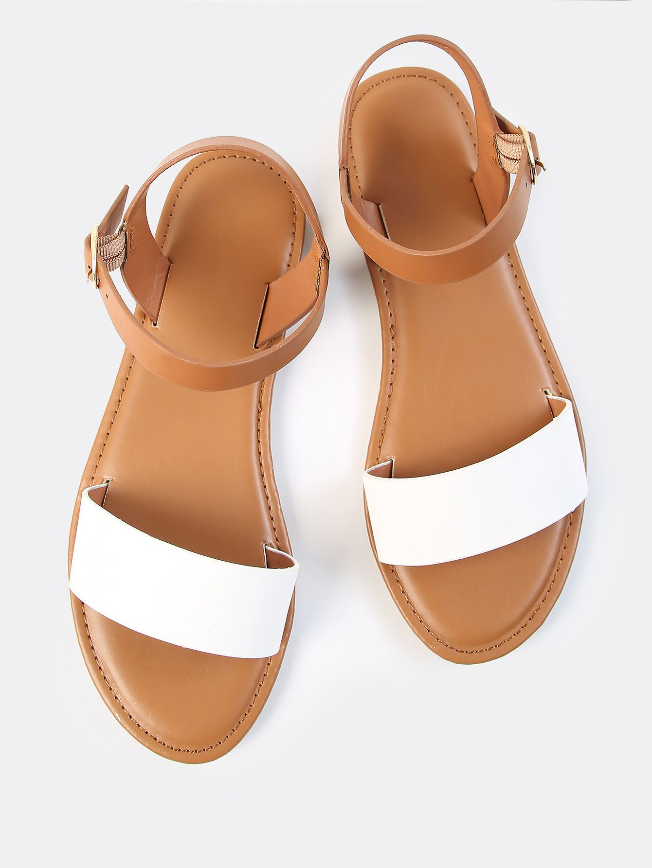 00a8ba6d88ee Shop Two Tone PU Open Toe Sandals online. SheIn offers Two Tone PU Open Toe  Sandals   more to fit your fashionable needs.