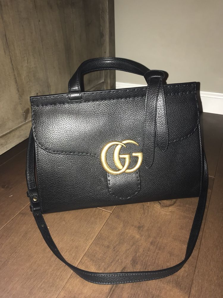 1bc8cfdbf6ffbc Authentic Gucci GG Marmont Leather Top Handle Bag - Black | Designer ...