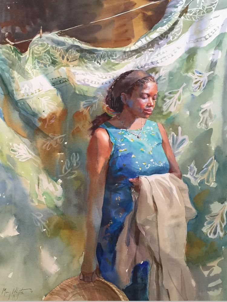Mary Whyte Figurative Watercolor Paintings Artpeople border=