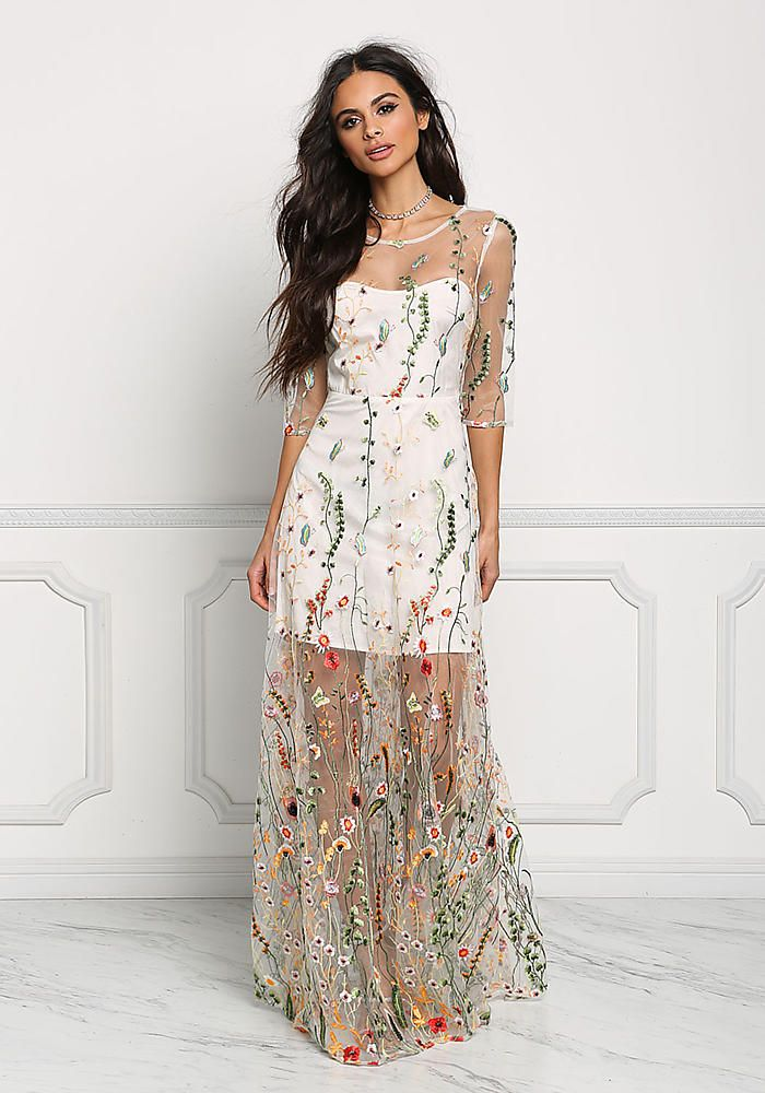 ... of my white dresses. Multi Tulle Floral Embroidered Maxi Gown -  Boutique Culture 6f28b2fc383c