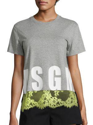 MSGM Lace Cotton Tee. #msgm #cloth #tee