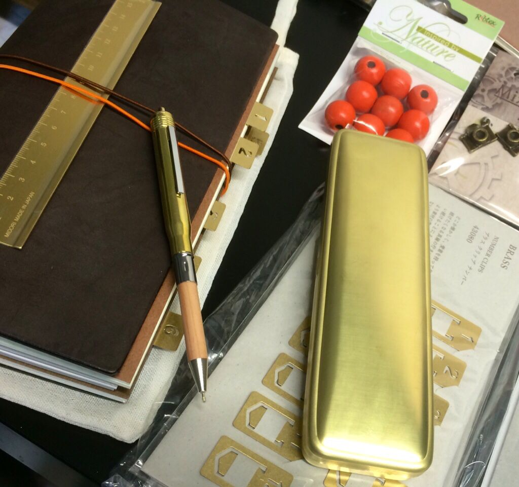 Midori Travelers Notebook with brass Accesories at Bookbinders Online