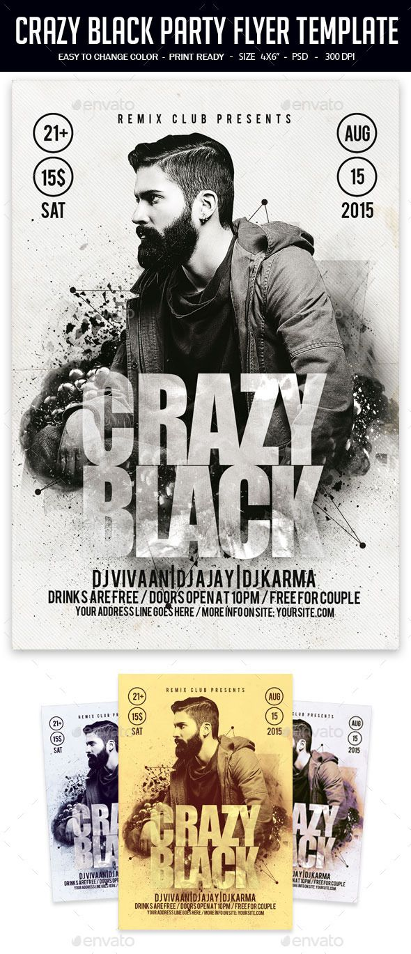 Crazy Black Party Flyer Template | Party flyer, Black party and ...