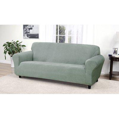 Red Barrel Studio Box Cushion Sofa Slipcover Fabric Seaglass In 2020 Cushions On Sofa Slipcovers Slipcovers For Chairs