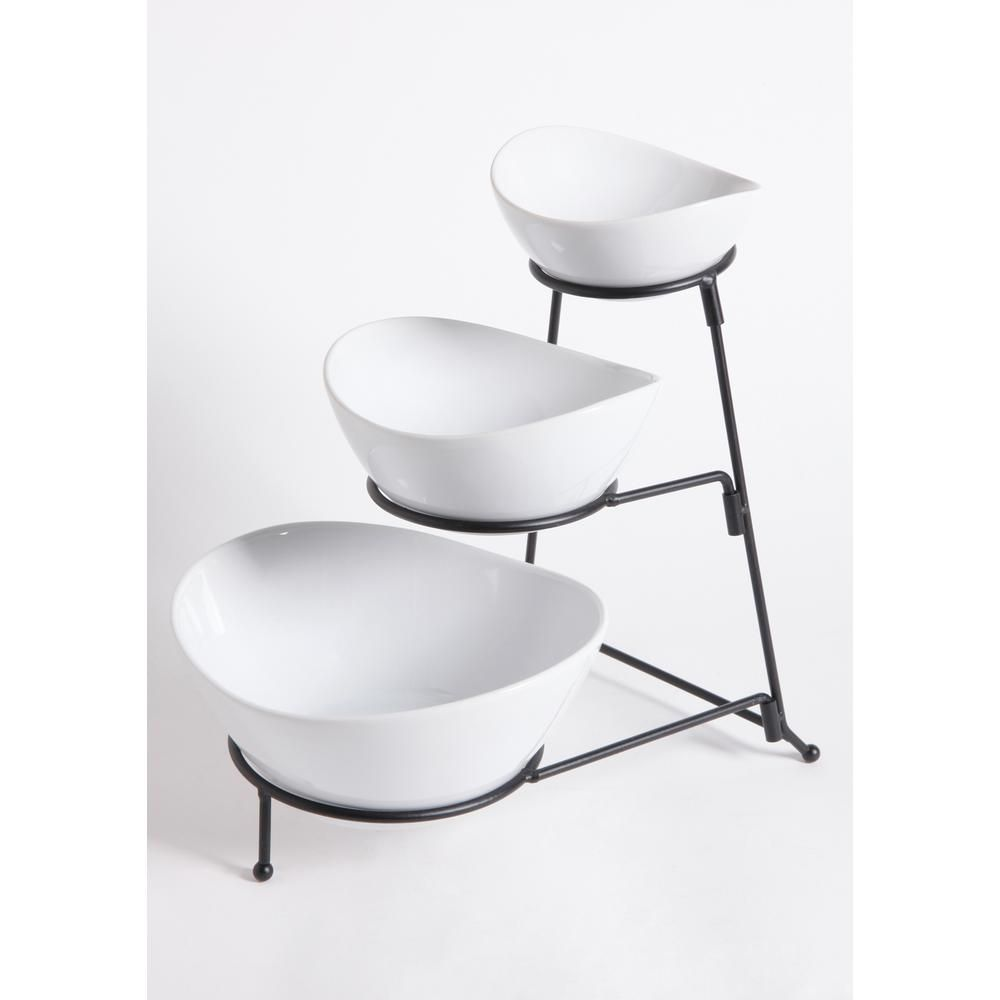 Gibson Elite Gracious Dining 4 Piece 3 Tier White Serving Bowl Set With Stand 101991 04rm Serving Bowl Set Bowl Set Chip Dip Sets