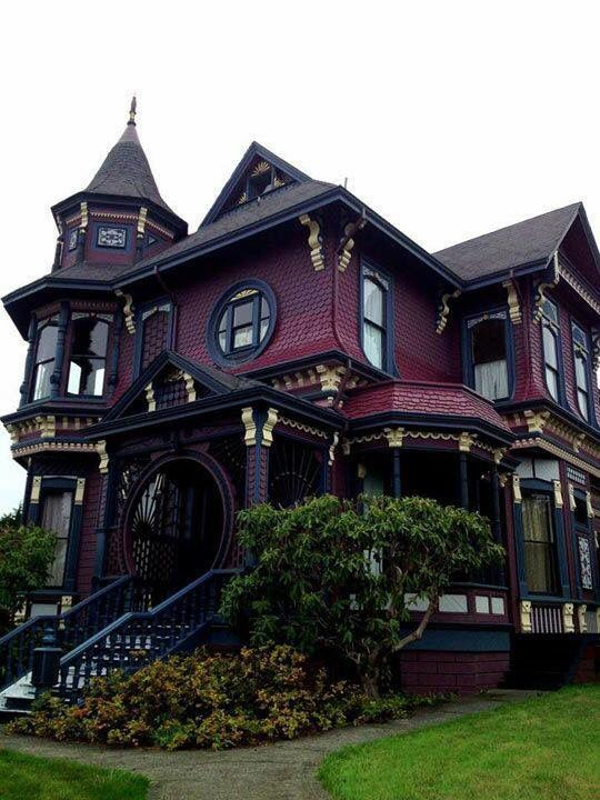 Burgundy Red Black House Gothic House Victorian Homes House
