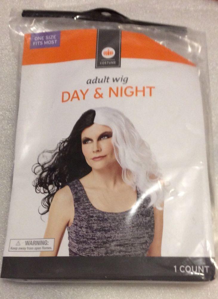 Day Night Black White Adult Wig Halloween Costume Hair Cruella Deville  966c818417b1