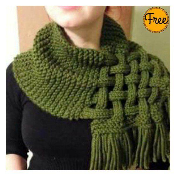 Beautiful Celtic Knot Looped Scarf Free Knitting Pattern | Stricken ...