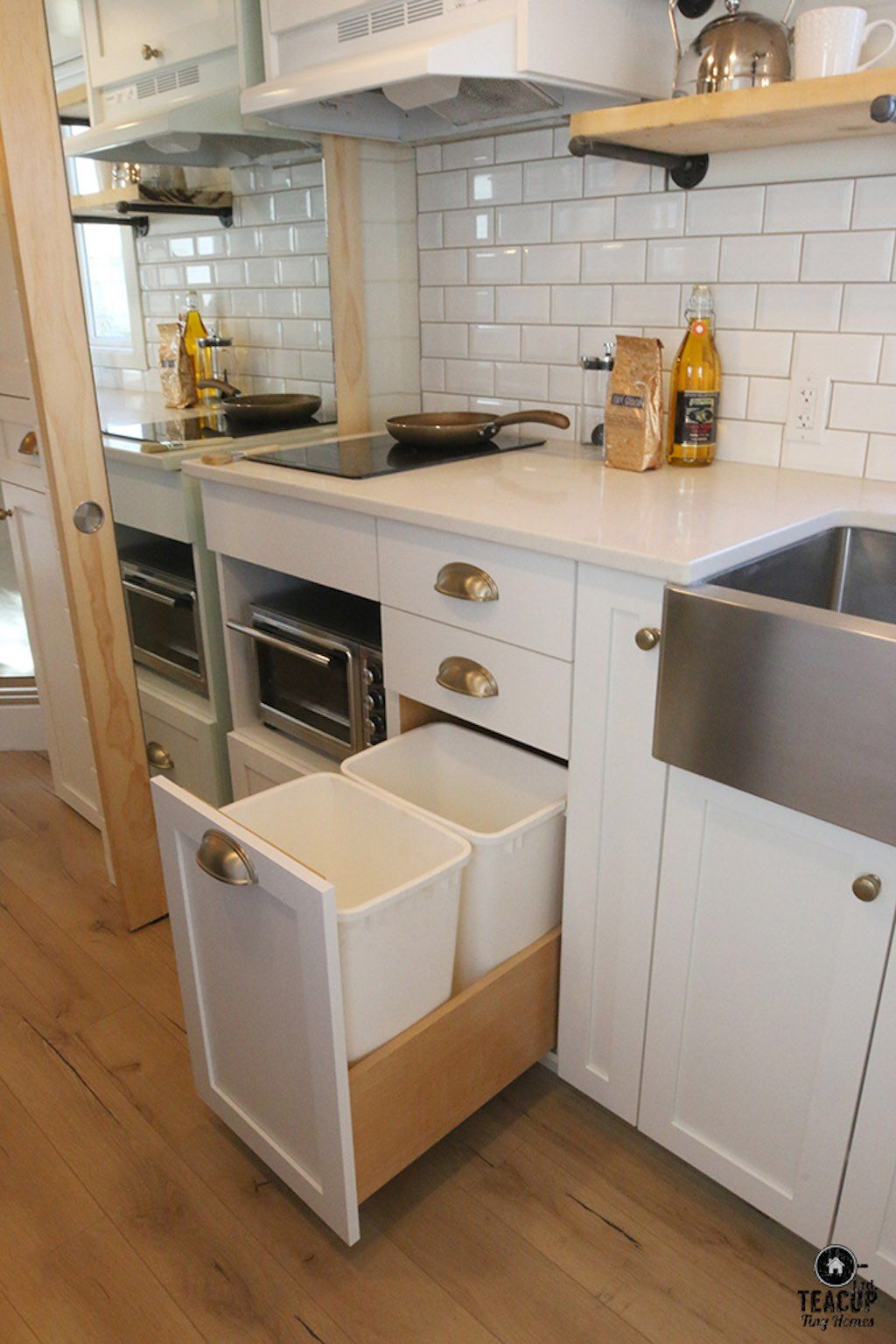Innisfree Annares - Page 3 of 3 - Tiny House Swoon  LOVE the trash and recycle bins! #tinyhousestorage