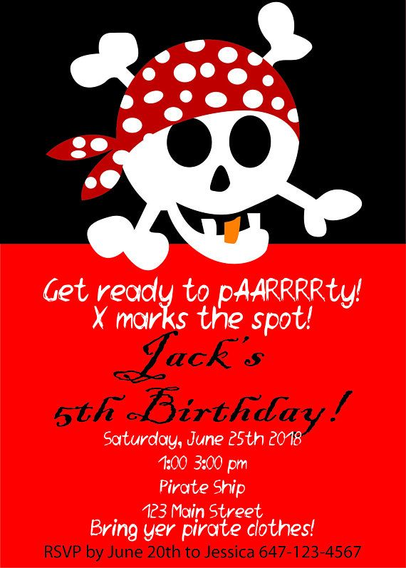pirate themed birthday party invitation with skull custom printable