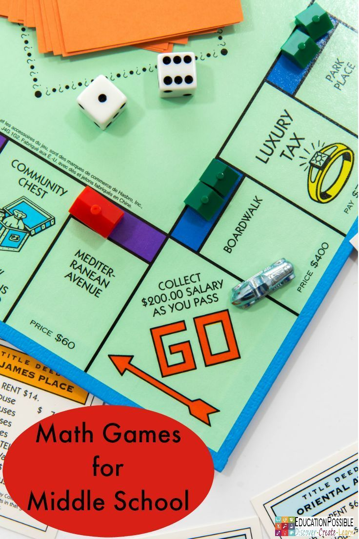 Math Games for Middle School #mathintherealworld