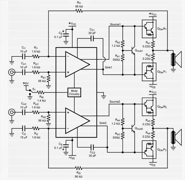 AmplifierCircuits.com: LM4702 Amplifier Circuit Diagram