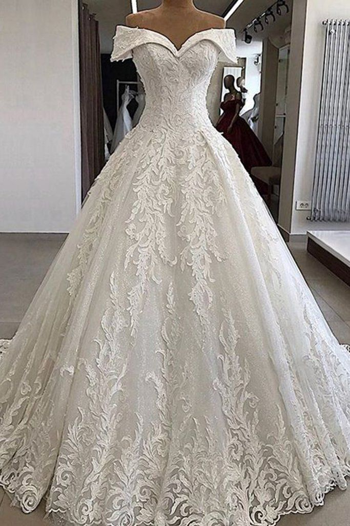 Luxury White Lace Off Shoulder Long Applique Wedding Dress, Formal Prom Dress