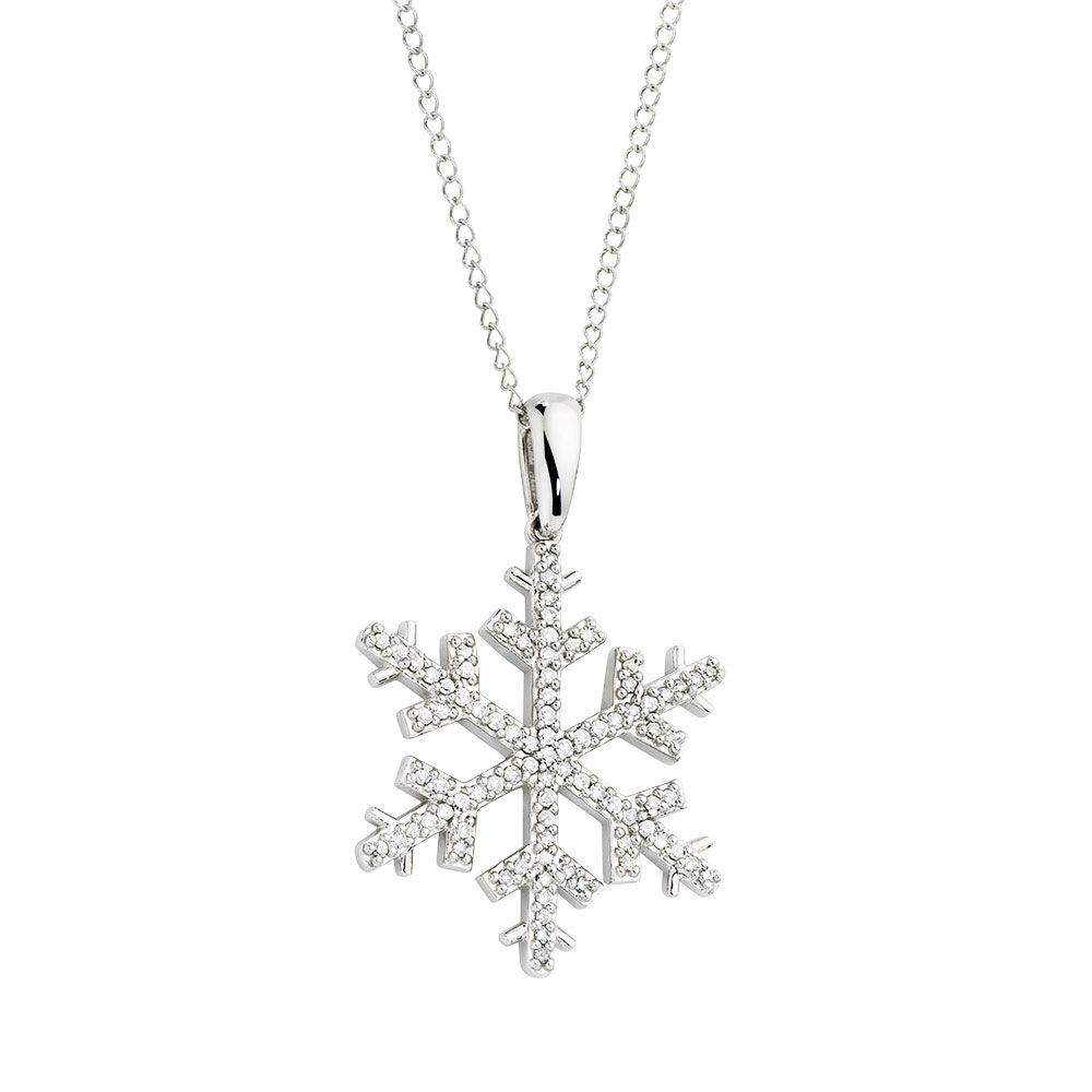 Diamond snowflake 10k white gold pendant price 650 jewelry celebrate the winter season with this carat total weight diamond snowflake pendant delicately set with round brilliant diamonds this white gold piece will mozeypictures Gallery