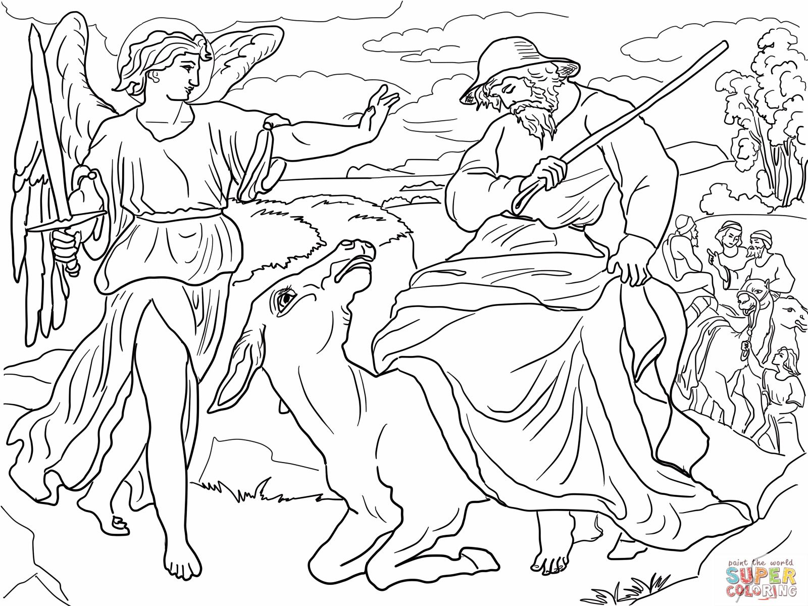 Balaam and the donkey. Bible coloring pages | Bible coloring pages ...