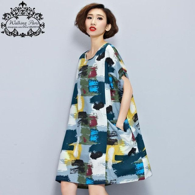 Plus Size Women Linen T-Shirt Summer Dress Chinese style Pattern Print  Tops&Tees Casual Vintage