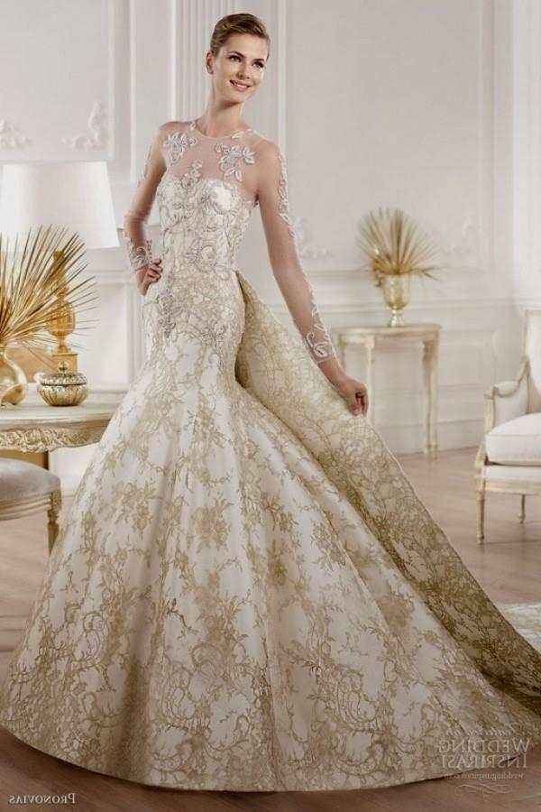 White Gold Wedding Dresses 4jpg 2607993 Jpg 600 900 Pixels Gold Lace Wedding Dress White Lace Wedding Dress Wedding Dresses