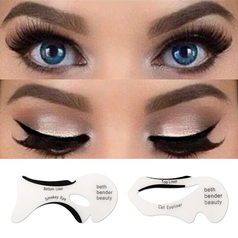 2pcs Eyeliner Stencil Kit Model For Eyebrows Guide Template Shaping