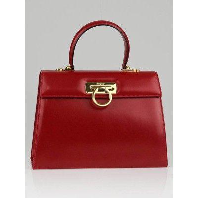 Salvatore Ferragamo Red Leather Kelly Top Handle Bag. Love this vintage  style. cddf142af4