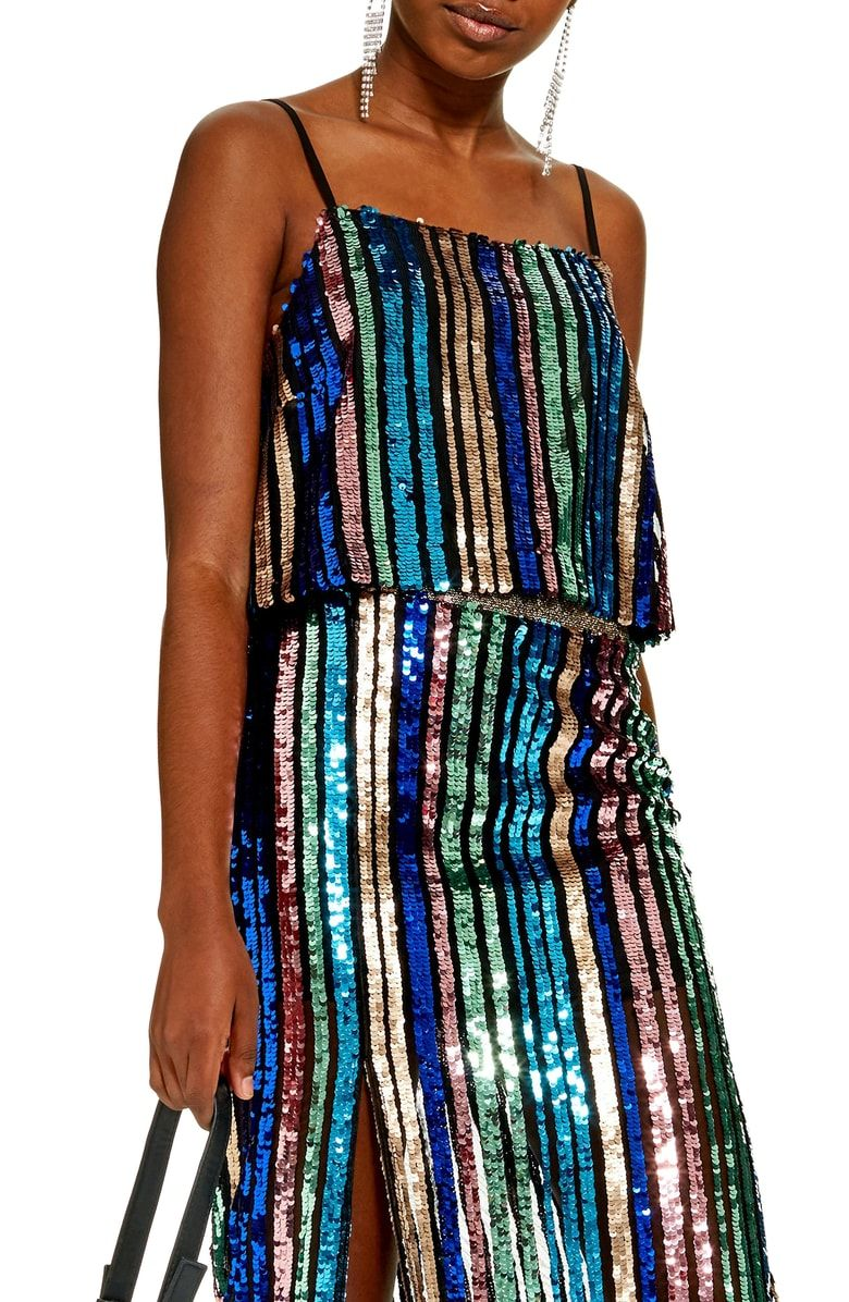 d899310bcb4ba Free shipping and returns on Topshop Sequin Stripe Cami at Nordstrom ...