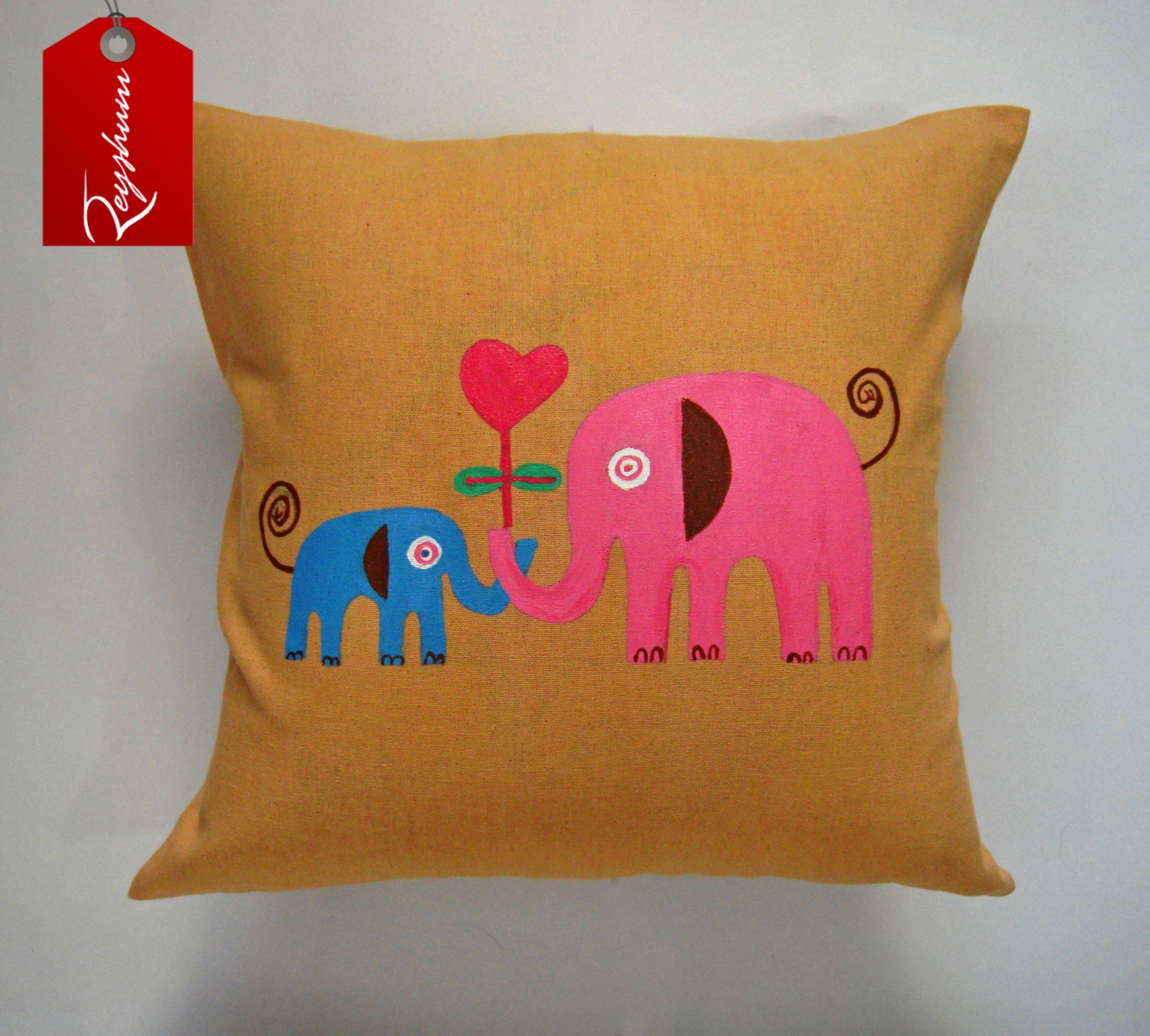 Pink or Blue Baby Elephant Cushion