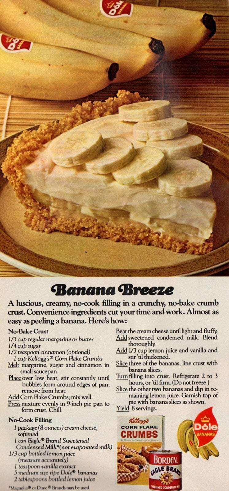 Banana Breeze no-bake pie (1974) - Click Americana #bananapie