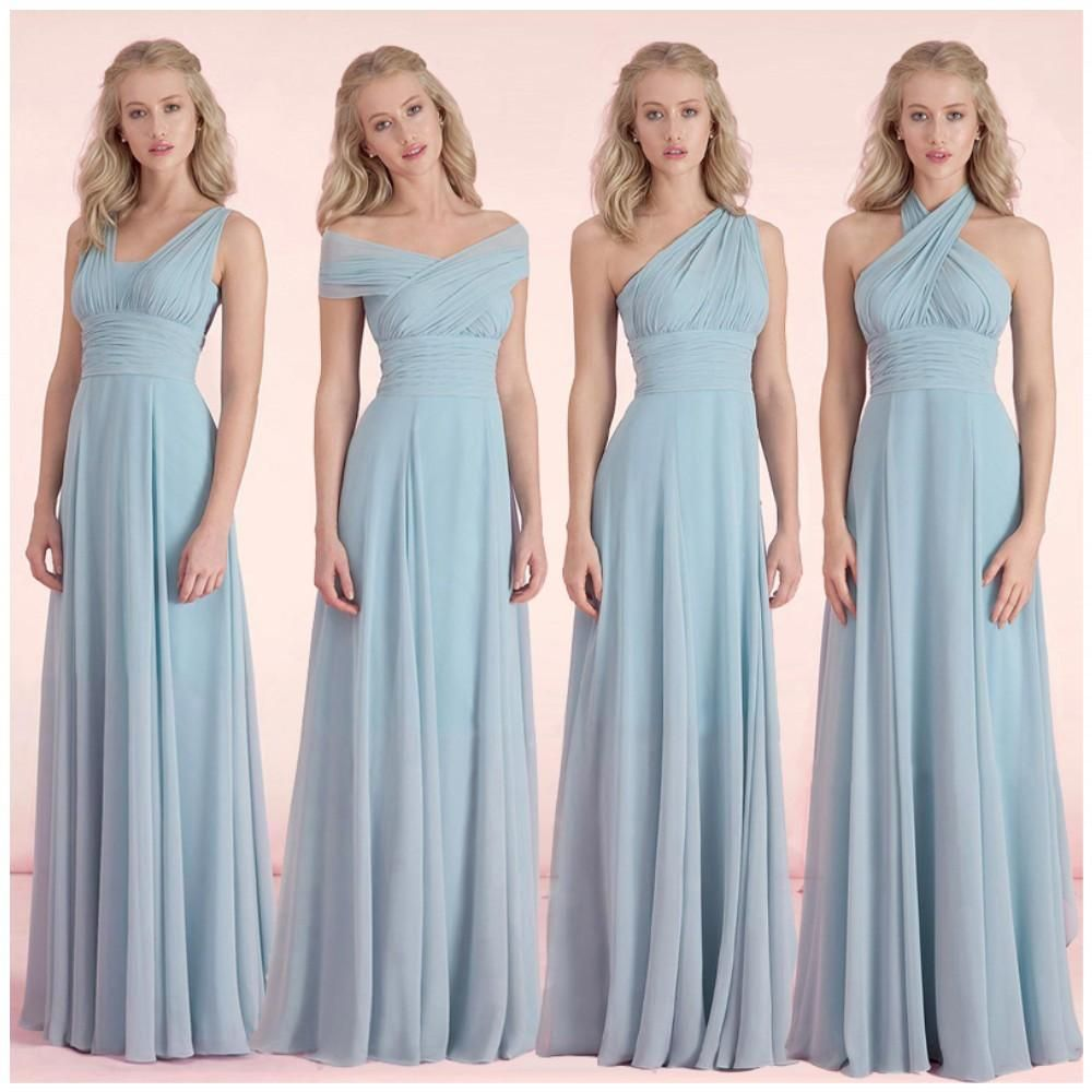 Convertible bridesmaid dresses light sky blue chiffon wedding convertible bridesmaid dresses light sky blue chiffon wedding party gowns 2016 ruched long simple cheap dress ombrellifo Image collections