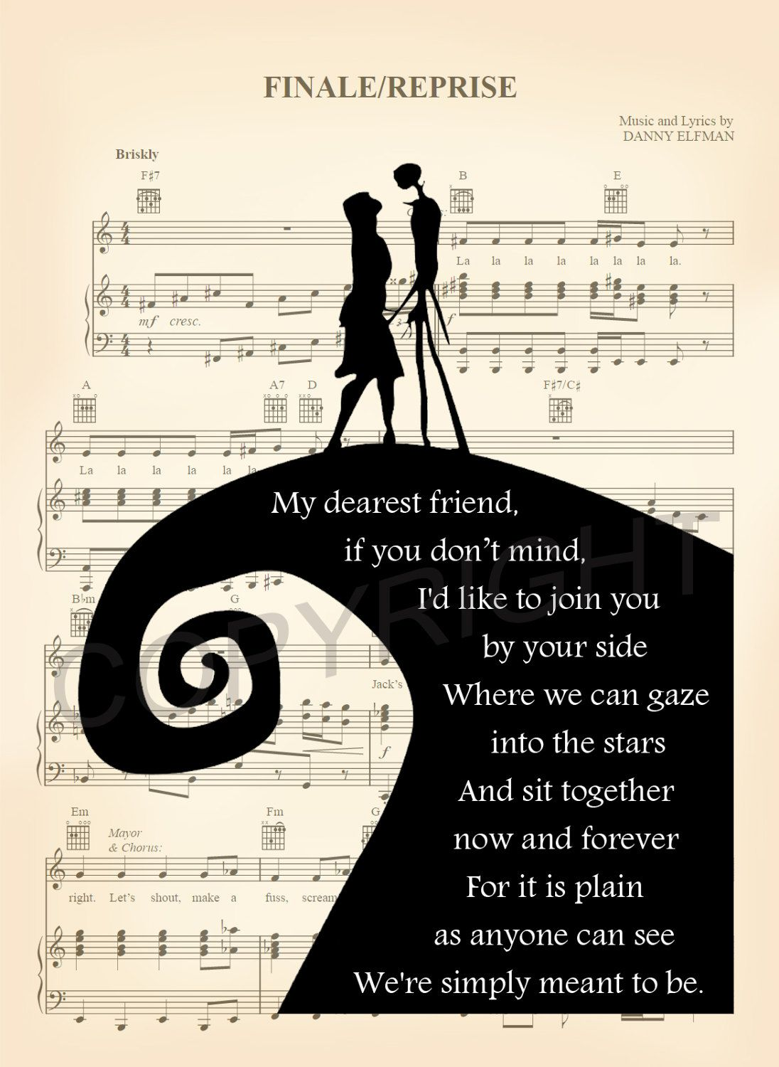 Here is a sheet music art print of Jack and Sally Skellington from ...