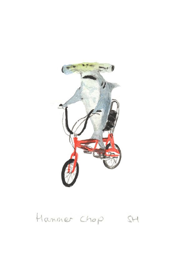 Nursery Print Hammerhead Shark On A Bike By Shirleyharveyart