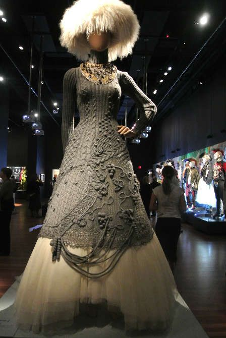 I am knocked out by this Jean-Paul Gaultier dress that seems be a combination of knitting, crochet, and maybe macrame. I'll also post an image of the back.