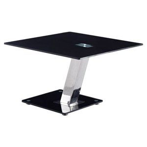 Global Furniture Square Stainless Steel End Table With Black Glass
