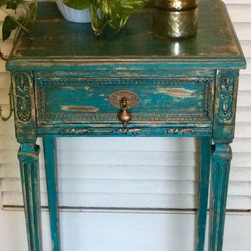 Shabby Chic Blue Vintage Nightstand Cozy Little Home