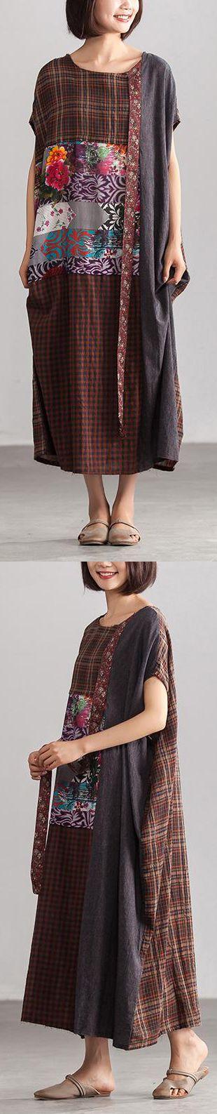 5161798d8cc0 fashion-linen-summer-dress-Linen-Loose-Baggy-Plaid-Brown-Summer-Dress-Women