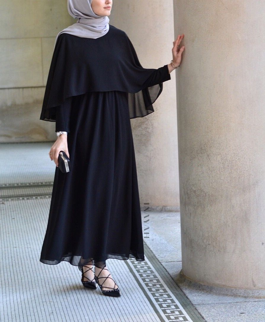 Inayah black cape maxi dress feather grey peach skin hijab
