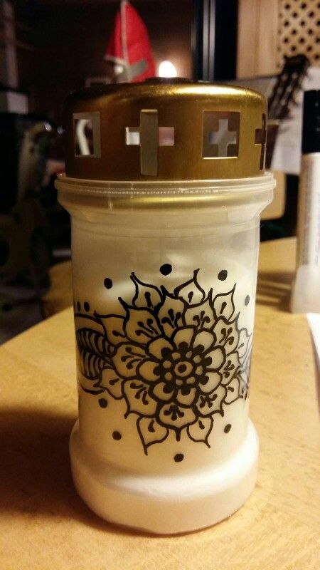 Painted Grave Candle Light Candle Grabkerze Henna Flower