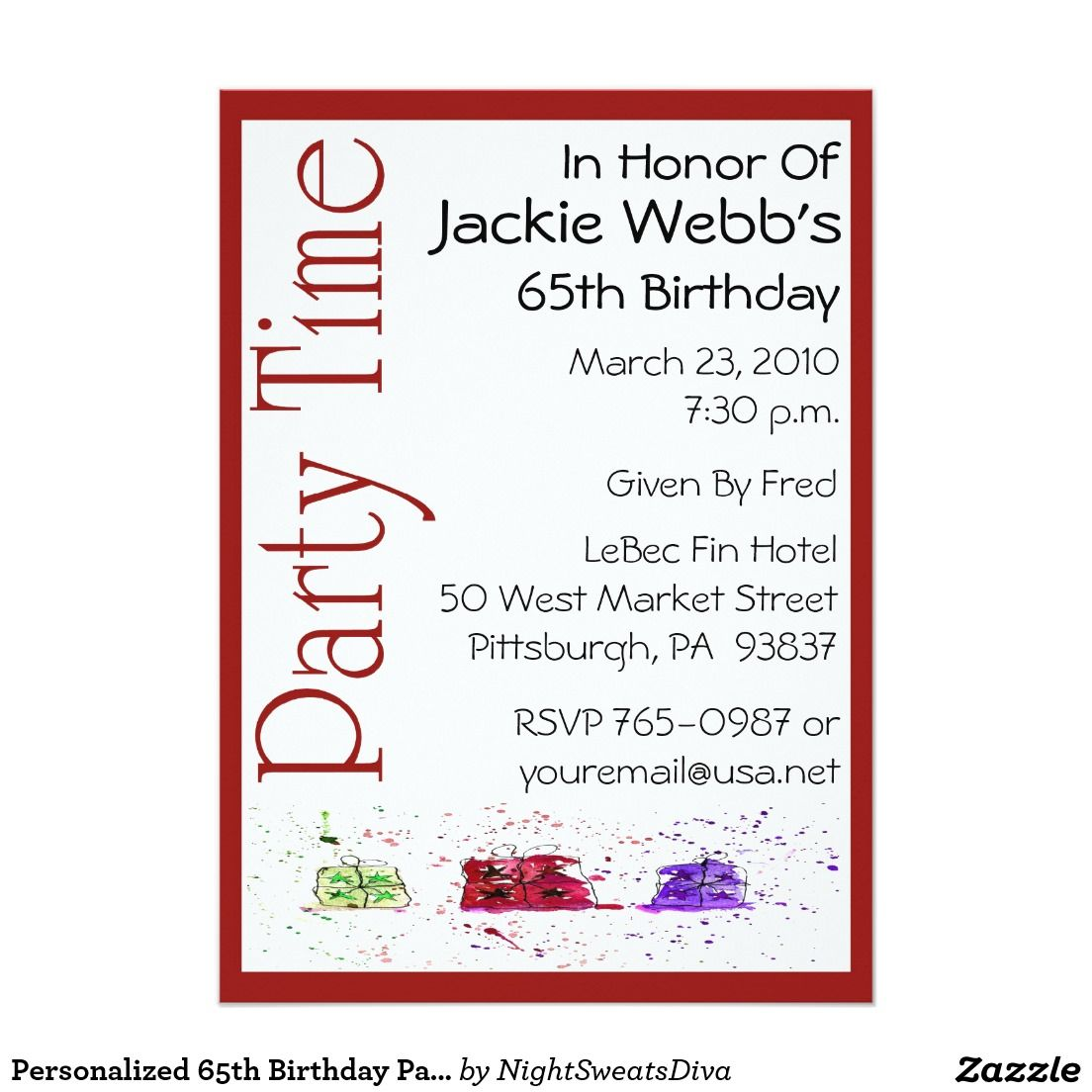 Personalized 65th Birthday Party Invitation | 65th Birthday Invites ...