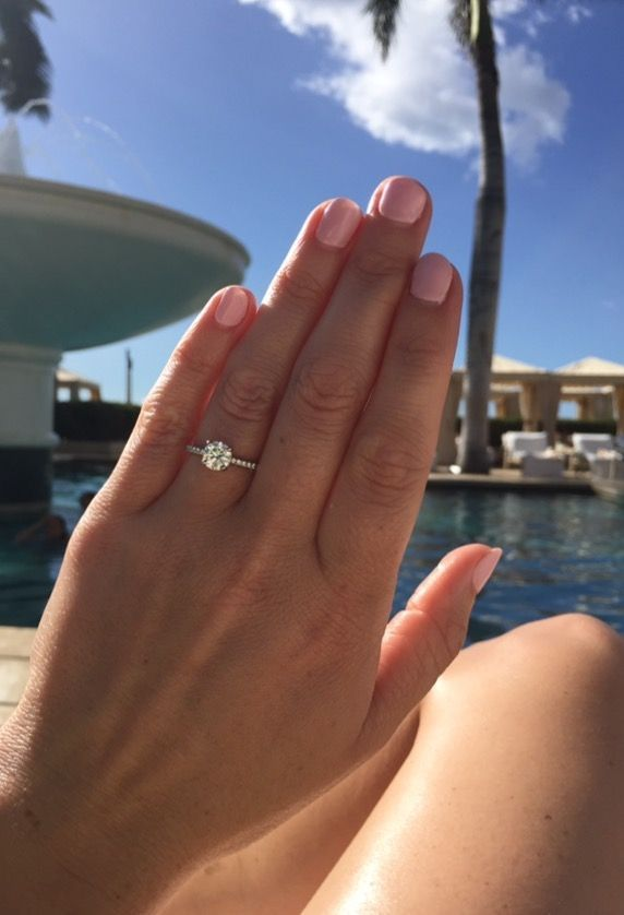 Petite Micropavé Diamond Engagement Ring in Platinum (1/10 ct. tw.) | Blue Nile -   - #Blue #BridesmaidDresses #Diamond #DiamondEngagementRings #engagement #EngagementPhotos #EngagementRings #Micropave #Nile #Petite #Platinum #Ring #WeddingPhotos #WeddingRings