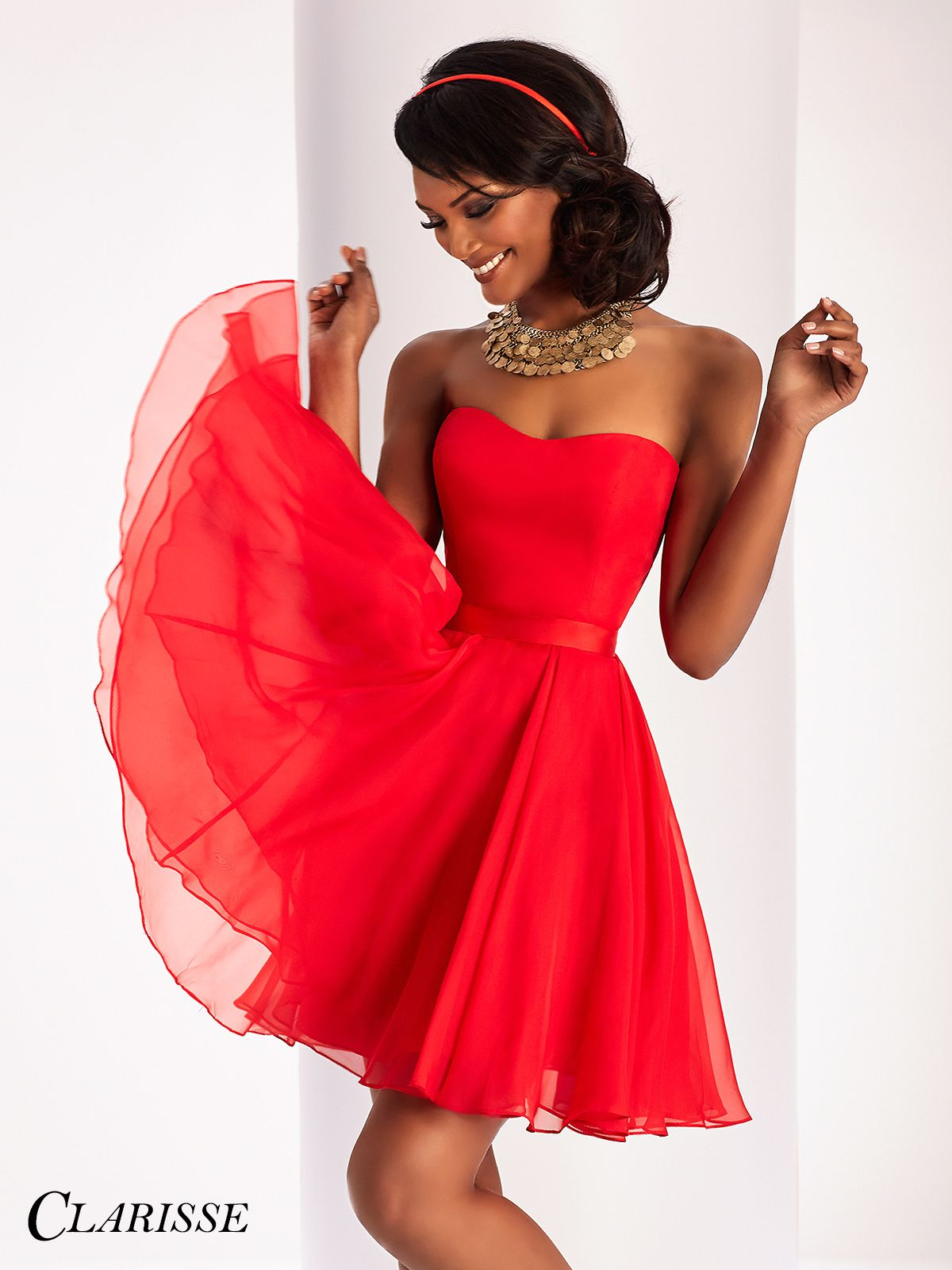 Clarisse prom dress short strapless and simple chiffon dress